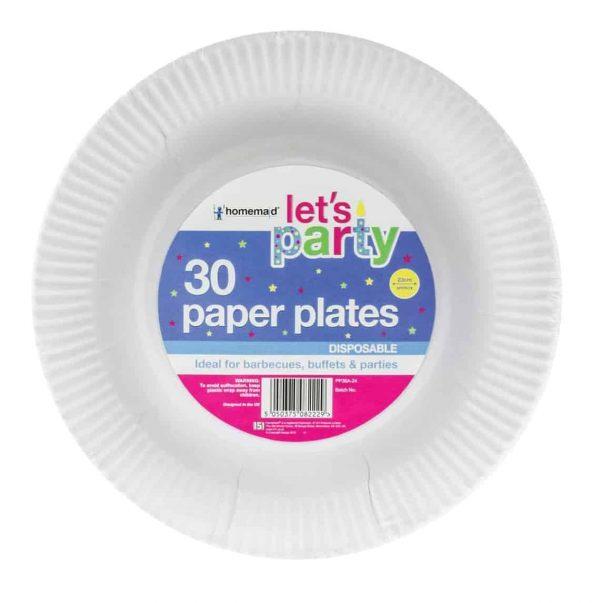 30pk 23cm white paper plates