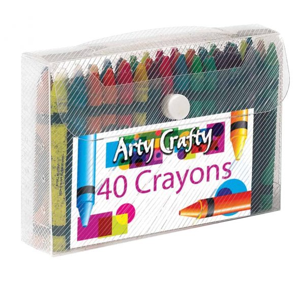 40pk crayons in button wallet