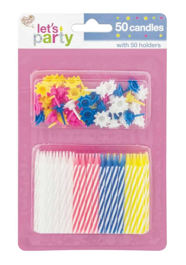 50 happy birthday candles with holders set