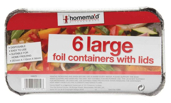 6 large foil containers with lids