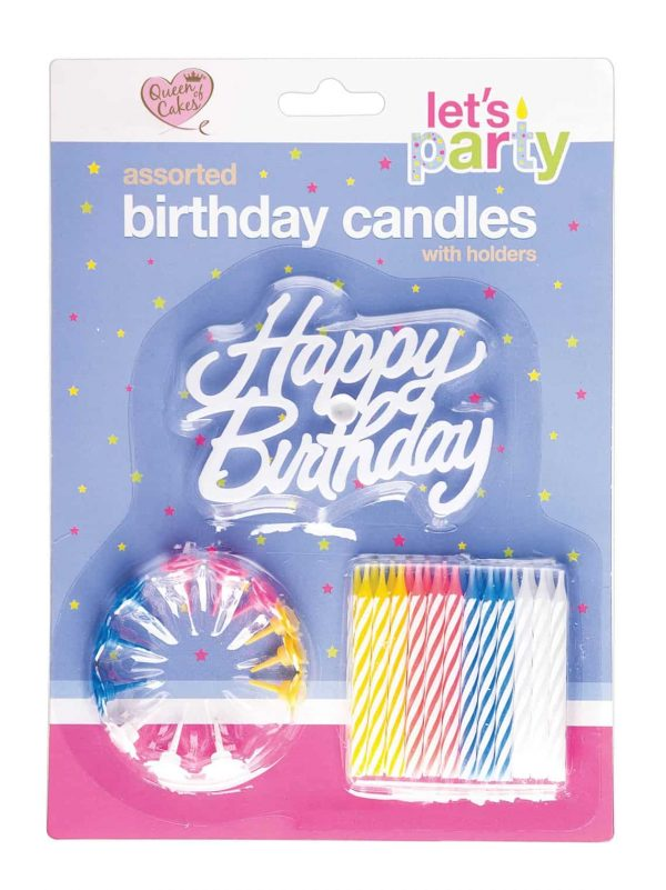 Happy birthday cake topper 24 candles holders